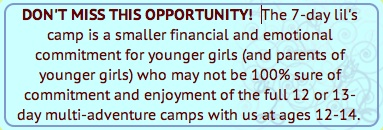 Pre Teen Girls Camp Opportunity