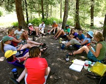 Group talk at summer girls camp