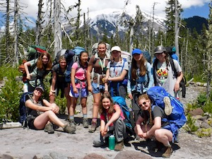 Girls backpacking summer camp