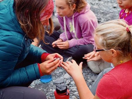 girl's summer camp painting nails fun