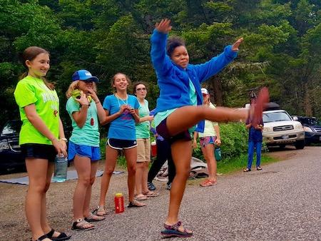 girl's summer camp outdoor dance party