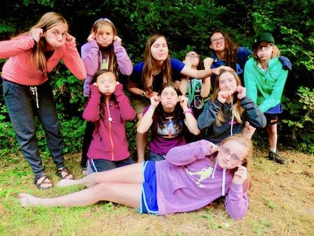 girl's summer camp funny faces