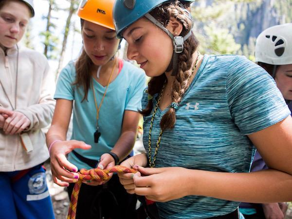 Girls Rock Climbing Camp in Knots