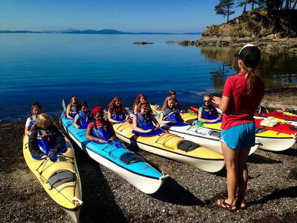 Girls Sea Kayak at Washington Camp