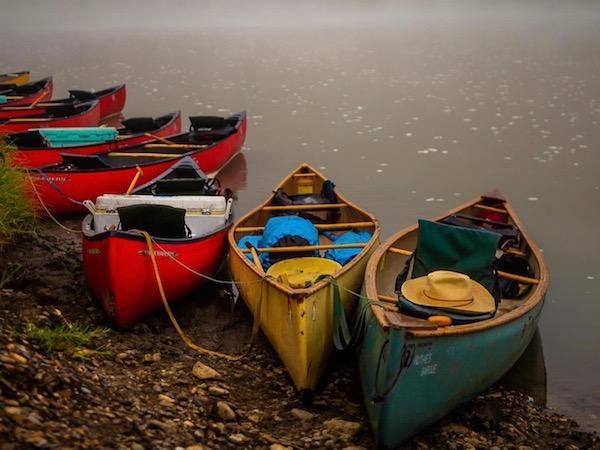 Girls canoeing nature camp