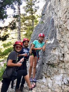 Girls rock climbing Montana