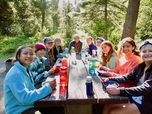 Girls backpacking summer camp